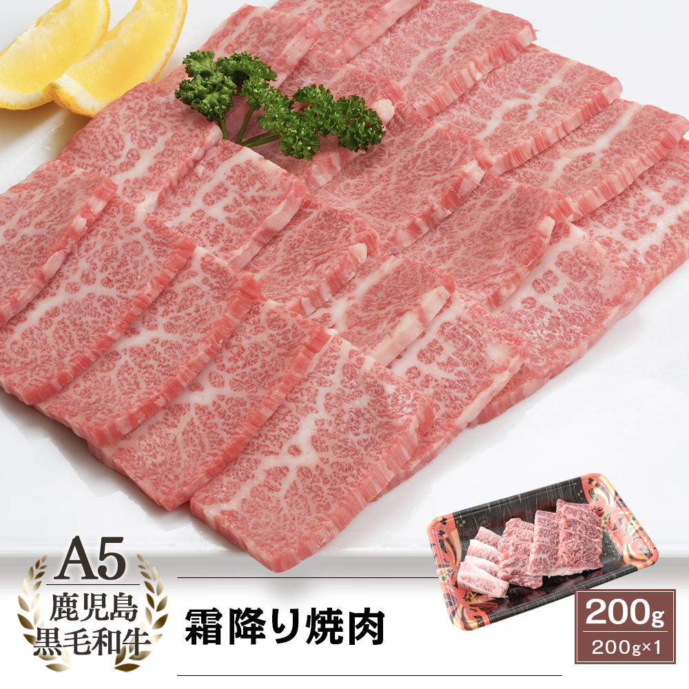 A5等級 鹿児島県産黒毛和牛 霜降り焼肉 200g